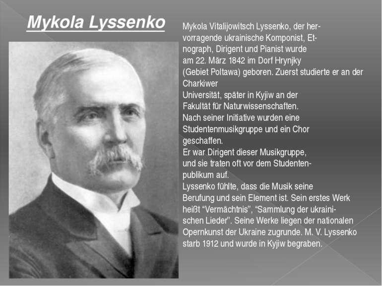 Mykola Vitalijowitsch Lyssenko, der her vorragende ukrainische Komponist, Et ...
