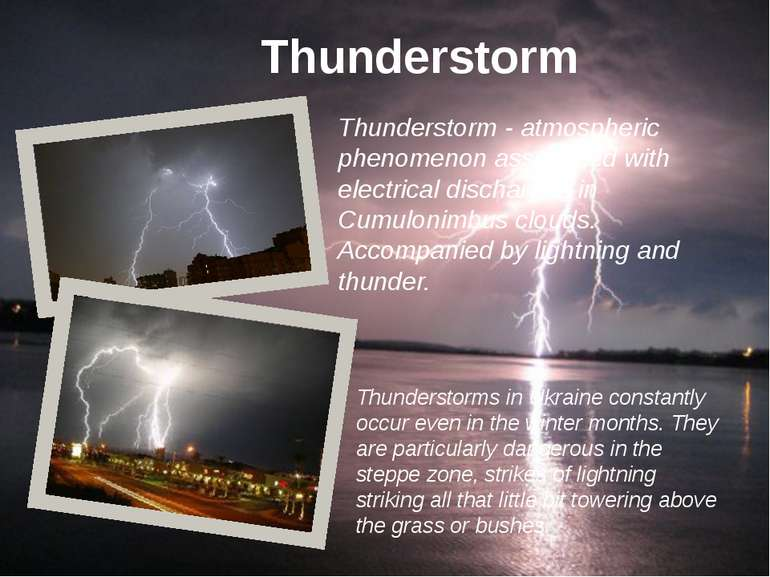 Thunderstorm - atmospheric phenomenon associated with electrical discharges i...