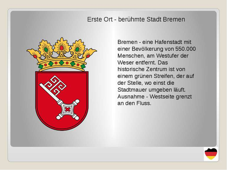 Erste Ort - berühmte Stadt Bremen Bremen - eine Hafenstadt mit einer Bevölker...
