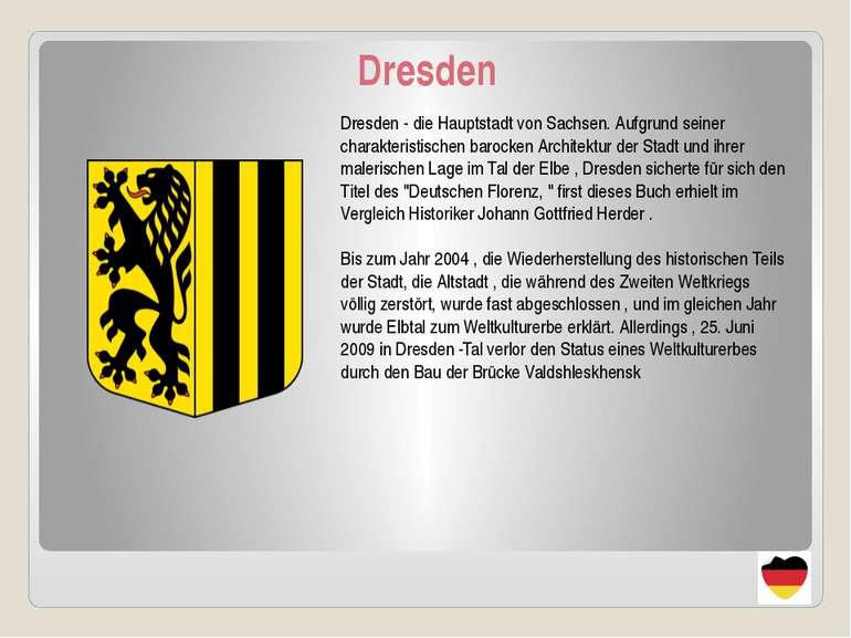 Dresden Dresden - die Hauptstadt von Sachsen. Aufgrund seiner charakteristisc...