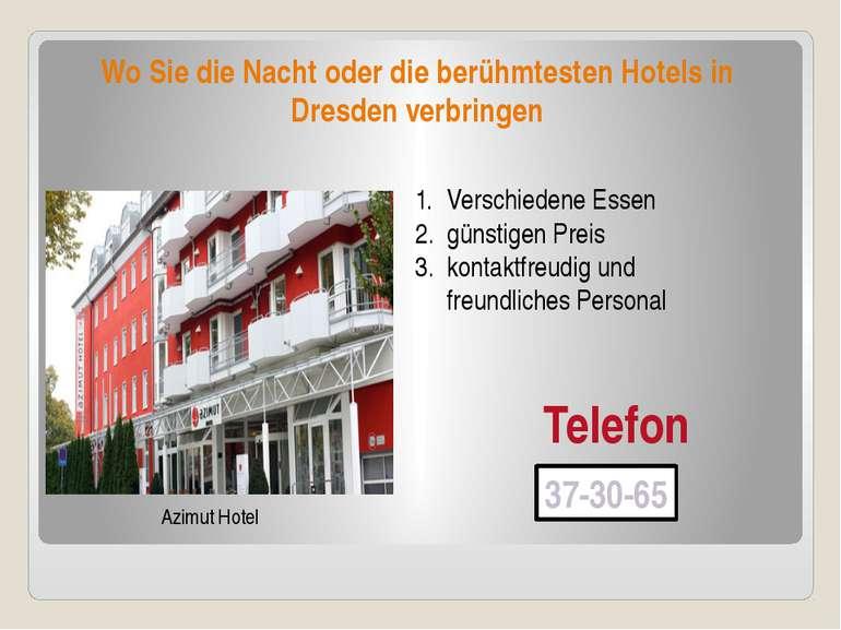 Wo Sie die Nacht oder die berühmtesten Hotels in Dresden verbringen Azimut Ho...
