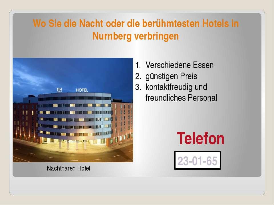 Wo Sie die Nacht oder die berühmtesten Hotels in Nurnberg verbringen Nachthar...
