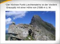 Der höchste Punkt Liechtensteins ist der Vordere Grauspitz mit einer Höhe von...