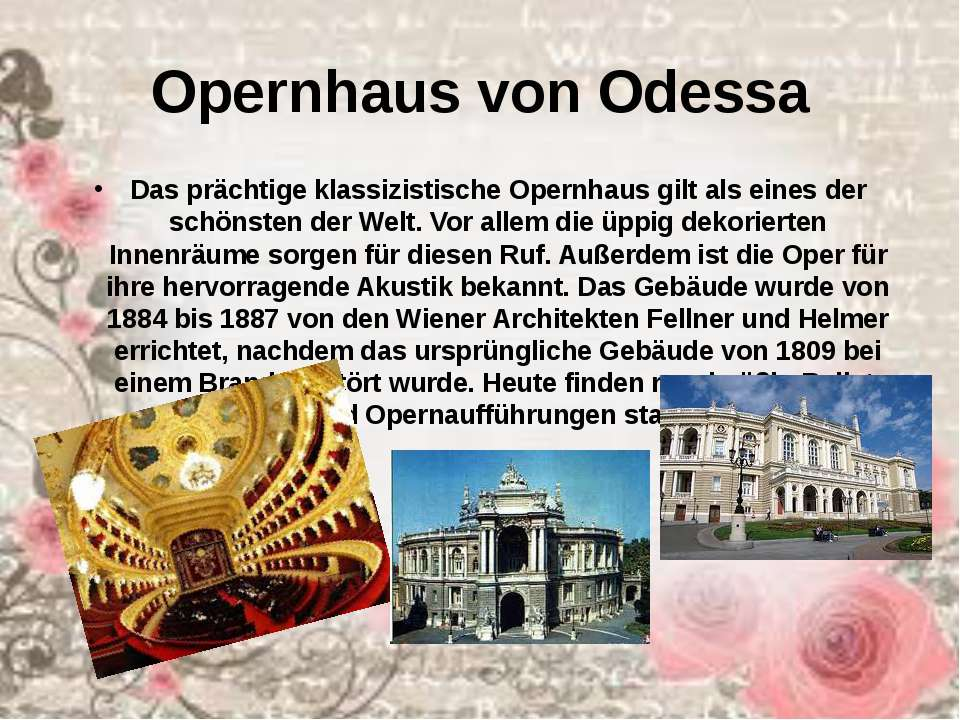 Opernhaus von Odessa Das prächtige klassizistische Opernhaus gilt als eines d...