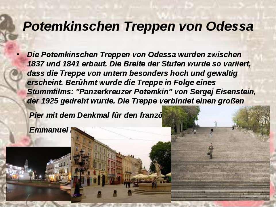 Potemkinschen Treppen von Odessa Die Potemkinschen Treppen vonOdessawurden ...