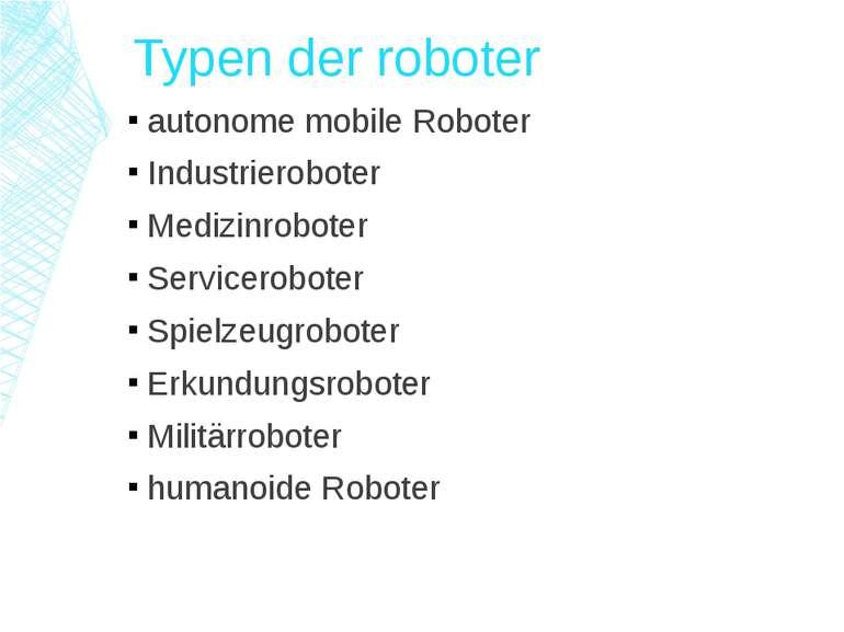 Typen der roboter autonome mobile Roboter Industrieroboter Medizinroboter Ser...