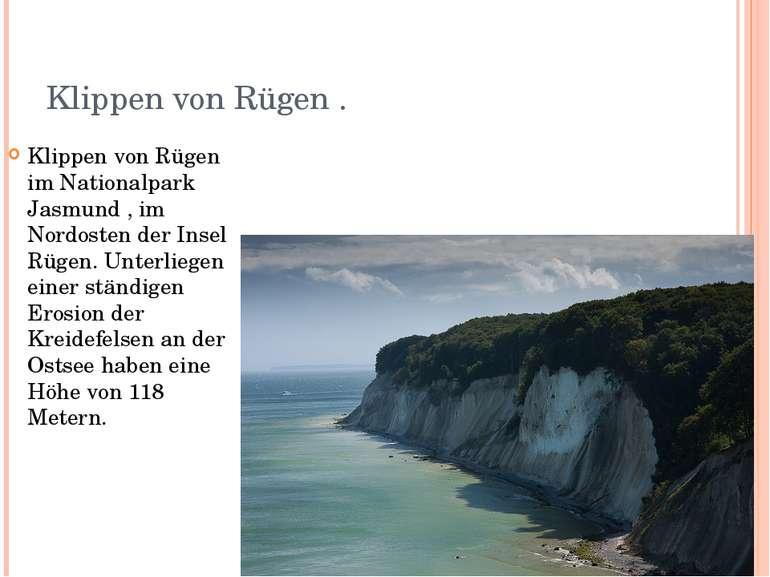 Klippen von Rügen . Klippen von Rügen im Nationalpark Jasmund , im Nordosten ...