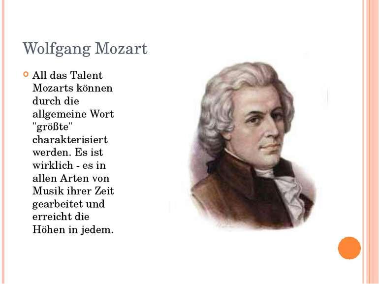 """Wolfgang Mozart All das Talent Mozarts können durch die allgemeine Wort """"größ..."""
