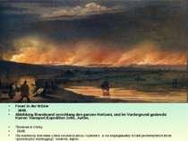 Feuer in der Wüste  1848. Abbildung Brandwand verschlang den ganzen Horizont...