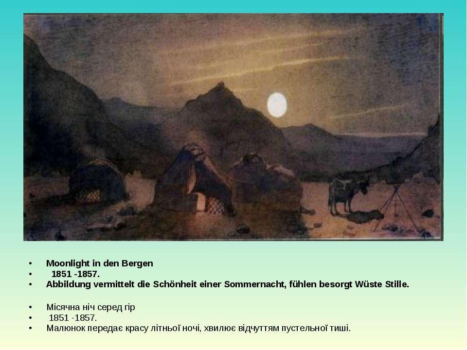 Moonlight in den Bergen  1851 -1857. Abbildung vermittelt die Schönheit eine...