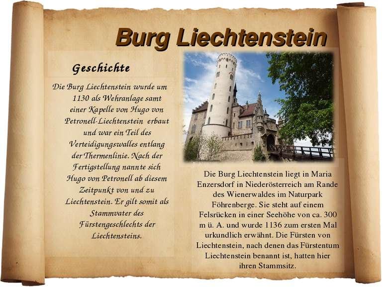 Burg Liechtenstein Geschichte Die Burg Liechtenstein wurde um 1130 als Wehran...