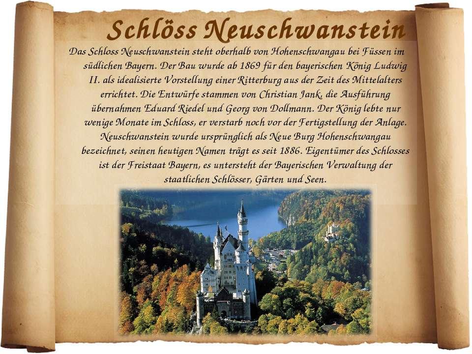 Schlöss Neuschwanstein Das Schloss Neuschwanstein steht oberhalb von Hohensch...