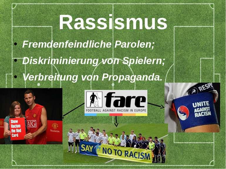 Rassismus Fremdenfeindliche Parolen; Diskriminierung von Spielern; Verbreitun...