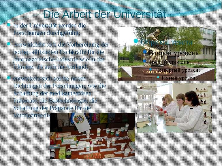 Die Arbeit der Universität In der Universität werden die Forschungen durchgef...