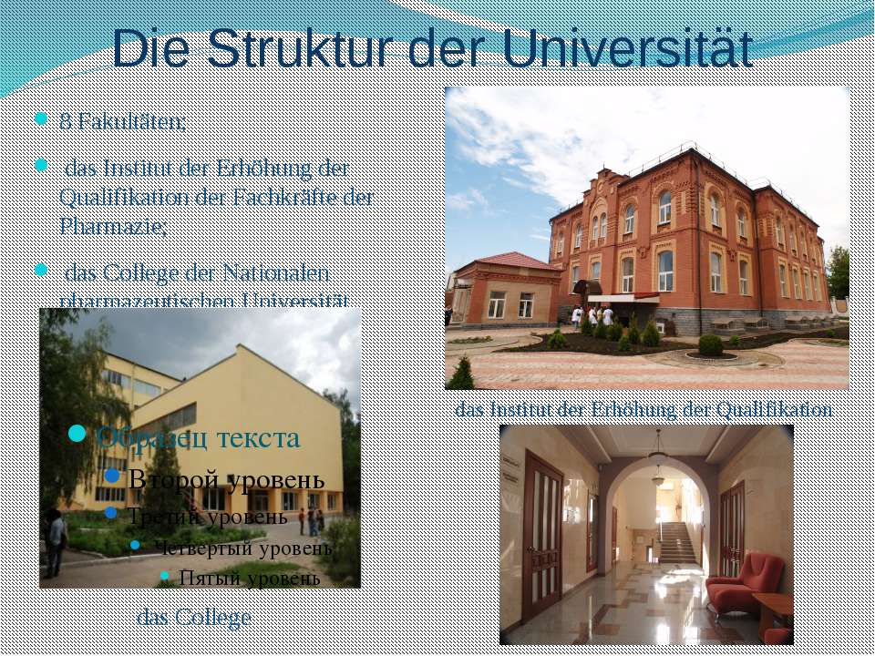 Die Struktur der Universität 8 Fakultäten; das Institut der Erhöhung der Qual...