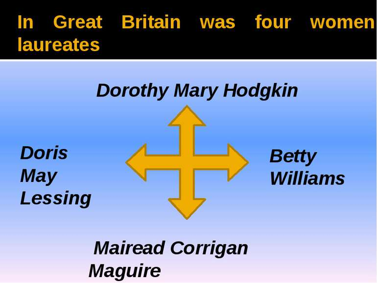 In Great Britain was four women laureates Dorothy Mary Hodgkin Doris May Less...