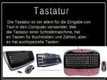 Die Tastaturist vor allem fürdie Eingabe von Textin den Computerverwendet...