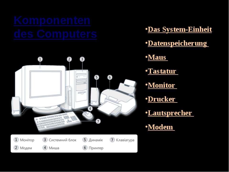 Das System-Einheit Datenspeicherung Maus Tastatur Monitor Drucker Lautspreche...