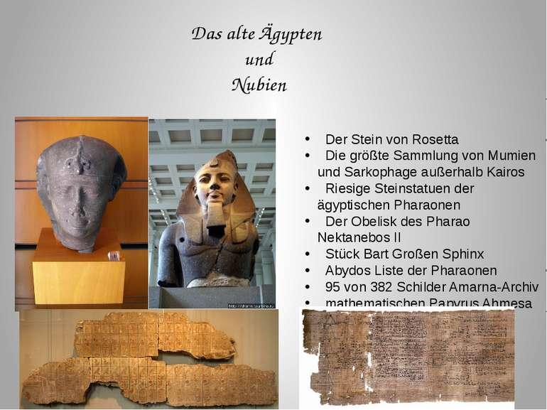 Das alte Ägypten und Nubien Der Stein von Rosetta Die größte Sammlung von Mum...
