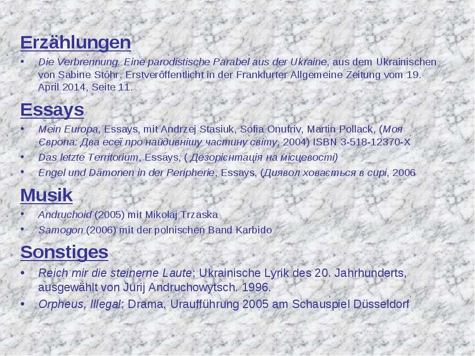 Erzählungen Die Verbrennung. Eine parodistische Parabel aus der Ukraine, aus ...