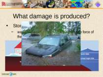 What damage is produced? Storm Surge water that is pushed toward the shore by...