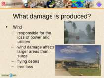 What damage is produced? Wind responsible for the loss of power and utilities...