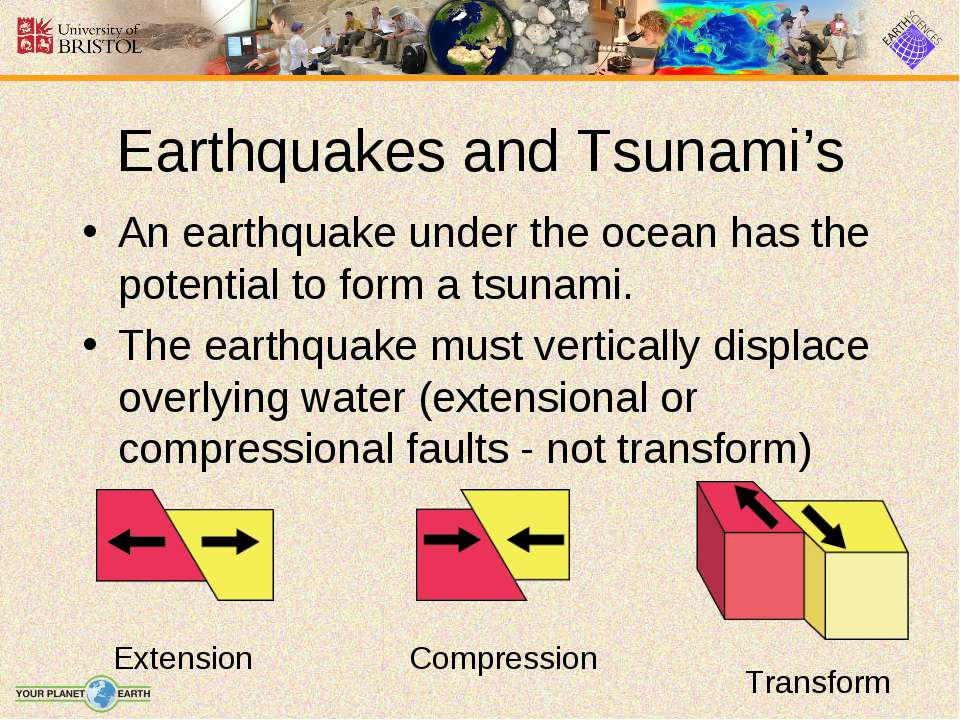 Earthquakes and Tsunami's An earthquake under the ocean has the potential to ...