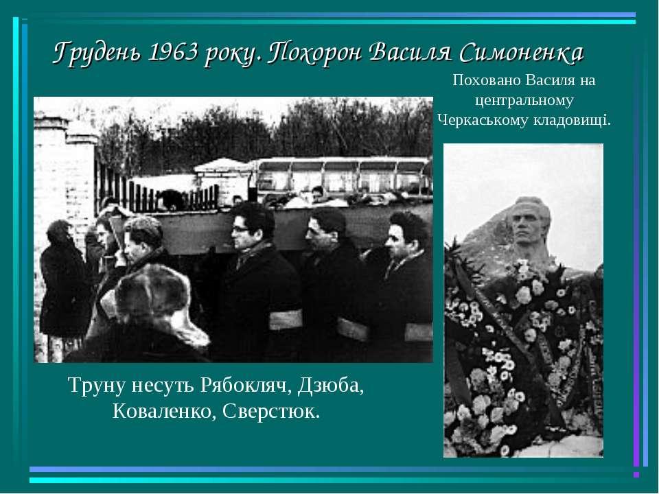 Грудень 1963 року. Похорон Василя Симоненка Труну несуть Рябокляч, Дзюба, Ков...