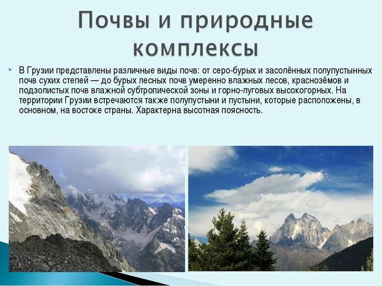 В Грузии представлены различные виды почв: от серо-бурых и засолённых полупус...