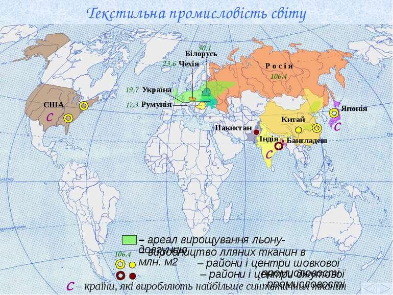 Текстильна промисловість світу Р о с і я 106,4 Білорусь 50,1 Чехія 23,6 Украї...