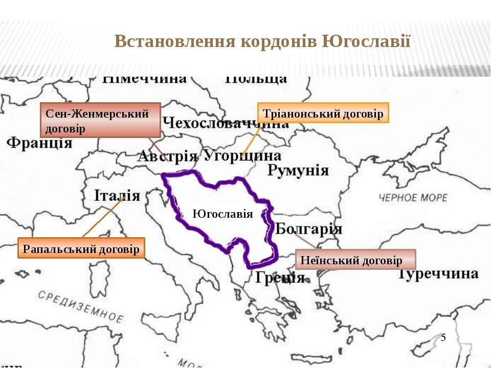 Встановлення кордонів Югославії Сен-Женмерський договір Тріанонський договір ...