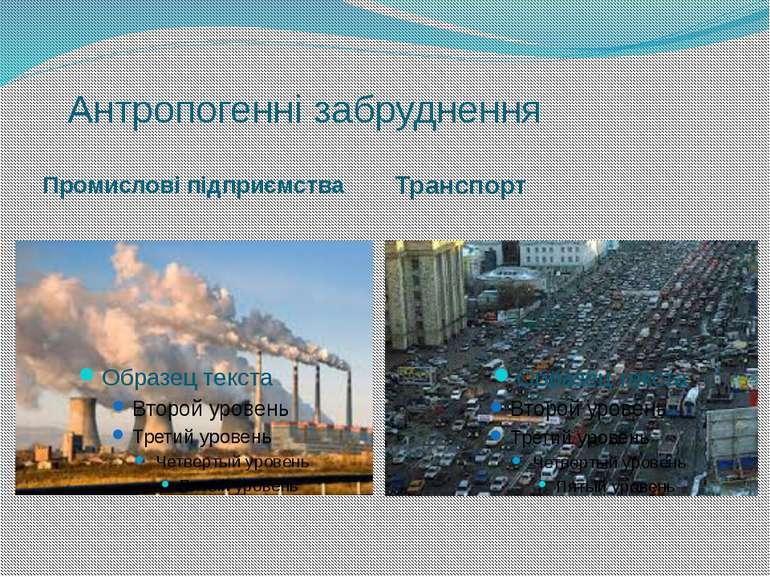 Антропогенні забруднення Промислові підприємства Транспорт