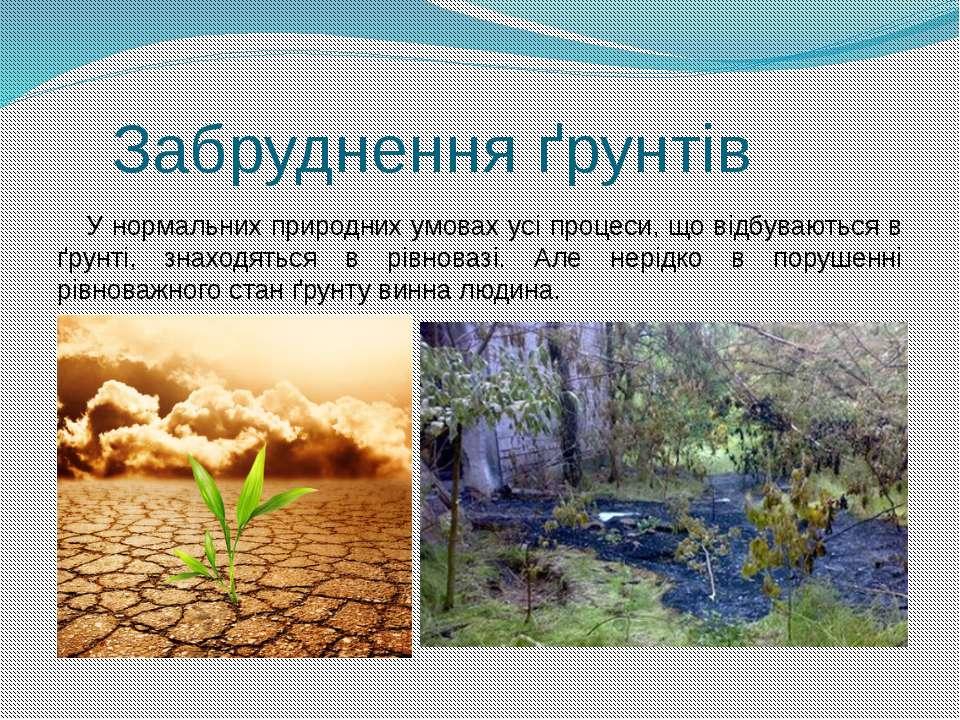 Забруднення ґрунтів У нормальних природних умовах усі процеси, що відбуваютьс...