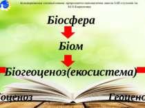 Біосфера Біом Біогеоценоз(екосистема) Біоценоз Геоценоз