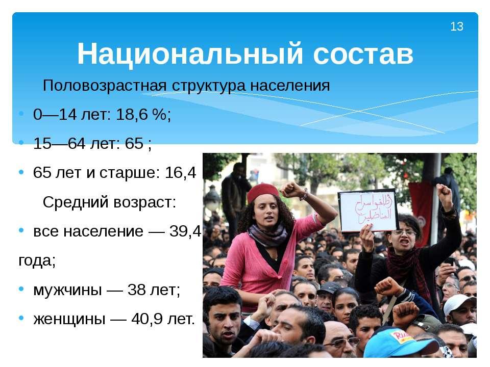 Половозрастная структура населения 0—14 лет: 18,6%; 15—64 лет: 65; 65 лет и...