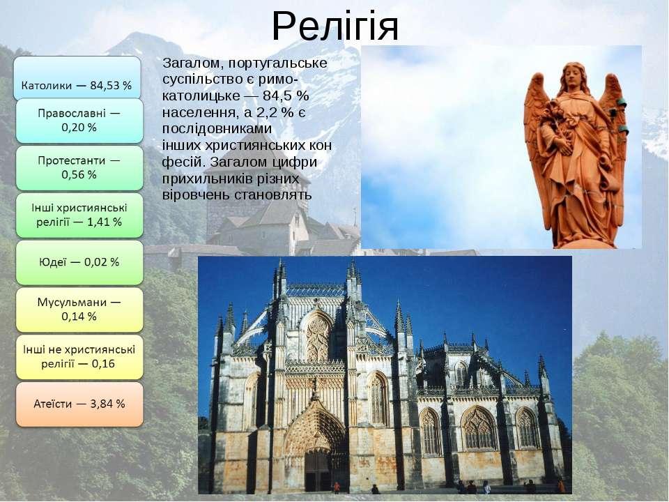 Релігія Загалом, португальське суспільство єримо-католицьке— 84,5% населен...