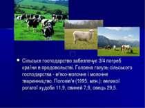 Сільське господарство забезпечує 3/4 потреб країни в продовольстві. Головна г...