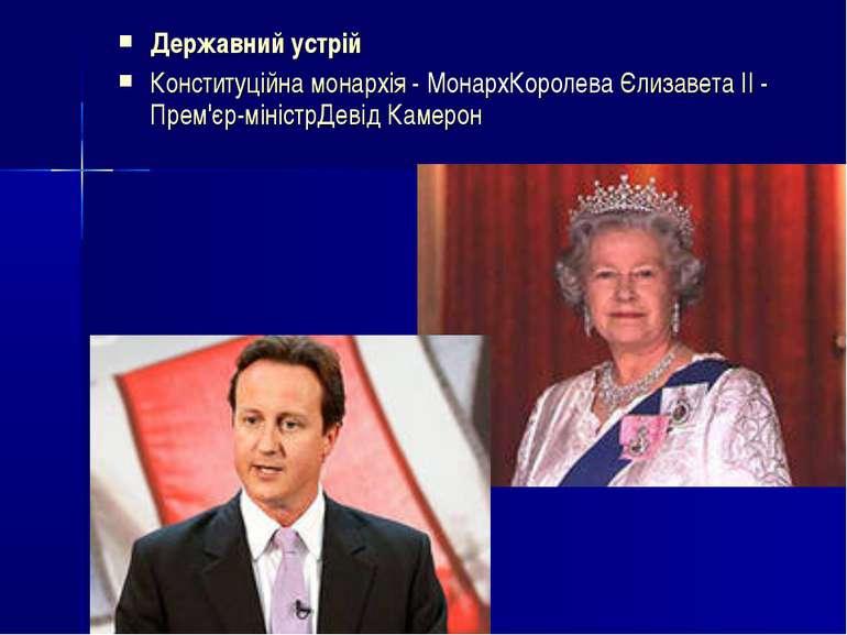 Державний устрій Конституційна монархія- МонархКоролеваЄлизавета II-Прем'...