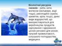 Біологічні ресурси океанів - риби, кити, молюски (кальмари, мідії тощо), рако...