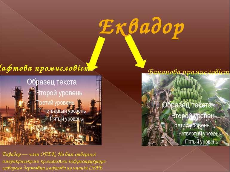 Еквадор Нафтова промисловість Еквадор — член ОПЕК. На базі створеної американ...