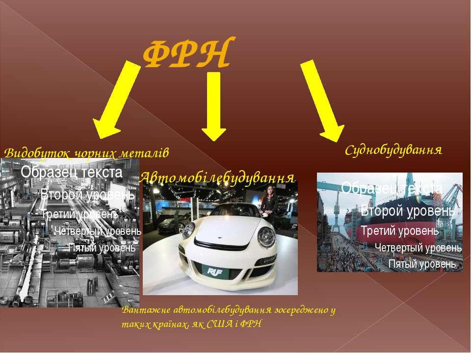 ФРН Вантажне автомобілебудування зосереджено у таких країнах, як США і ФРН Ав...