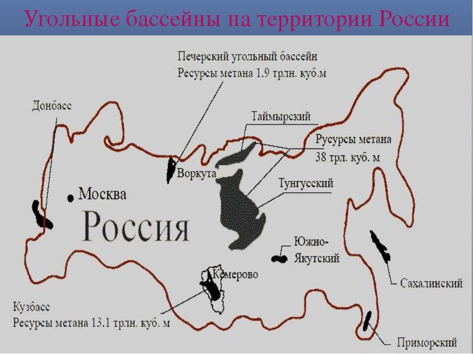 Угольные бассейны на территории России
