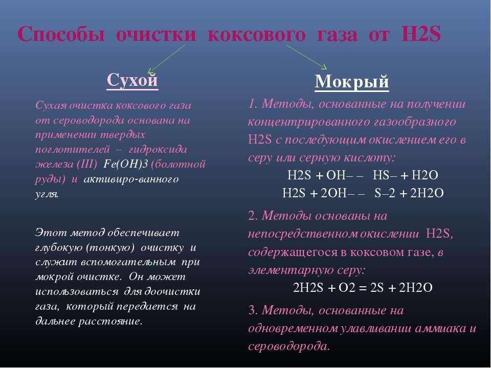 Способы очистки коксового газа от H2S Сухой Мокрый Сухая очистка коксового га...