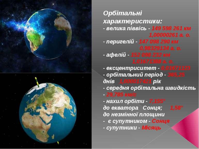 Орбітальні характеристики: - велика піввісь - 149 598 261км 1,00000261а.о....