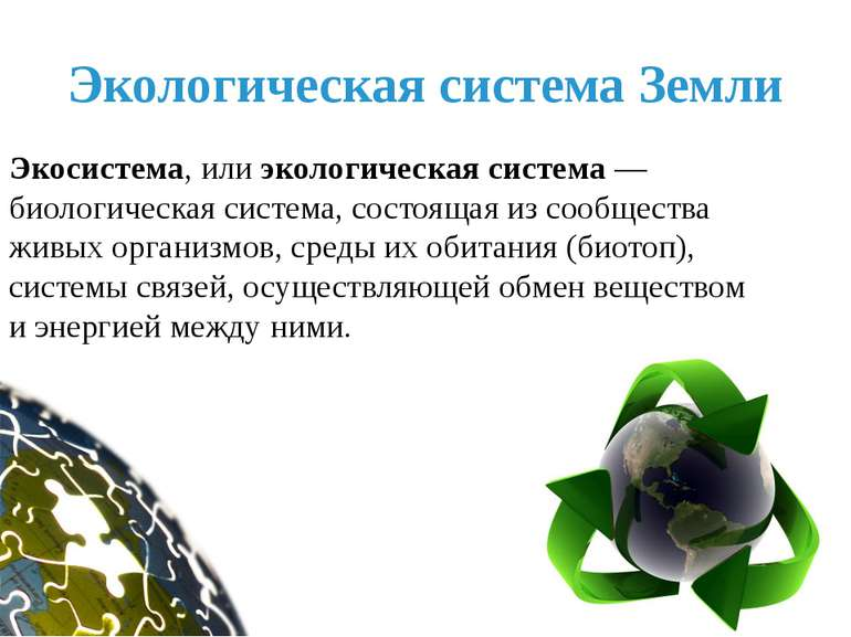 Экологическая система Земли Экосистема, или экологическая система — биологиче...