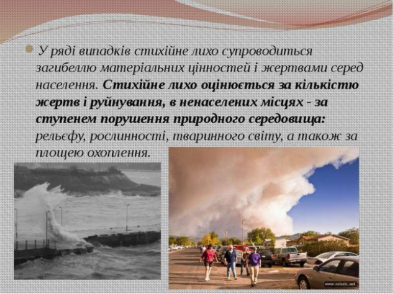 У ряді випадків стихійне лихо супроводиться загибеллю матеріальних цінностей ...
