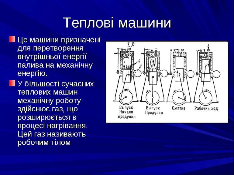 Теплові машини Це машини призначені для перетворення внутрішньої енергії пали...
