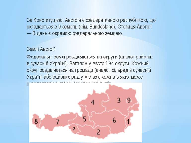 За Конституцією, Австрія є федеративною республікою, що складається з 9 земел...