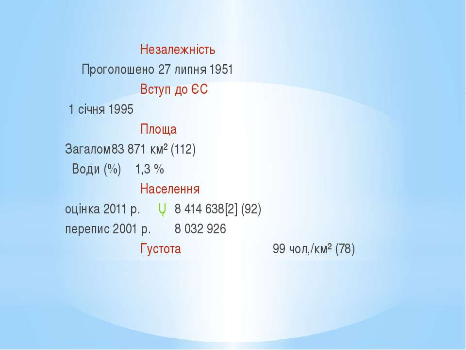 Незалежність Проголошено 27 липня 1951 Вступ до ЄС 1 січня 1995 Площа Загалом...