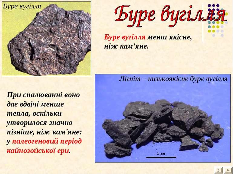 3 Буре вугілля Лігніт – низькоякісне буре вугілля Буре вугілля менш якісне, н...